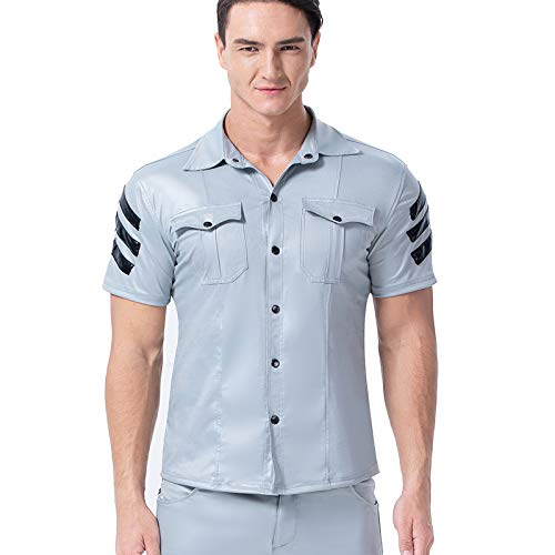ZHIDEYONGYOU Europäische und amerikanische Herren-Lederhemd enganliegende Kurzarm-T-Shirt Wilde Leistungskleidung 6036,Blau,XXL