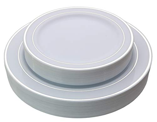 """Exquisite Reflective (Silver Line) Plastic Plates-60 Peices Premium Heavyweight Plastic Dinnerware (30-10.25"""" Dinner and 30-7.5"""" Salad/Dinner) Wedding Like China"""