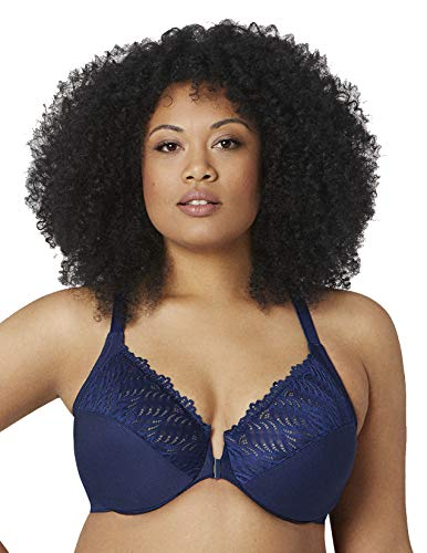 Glamorise Women's Full Figure Front Close Lace T-Back Wonderwire Bra #1246 Blue