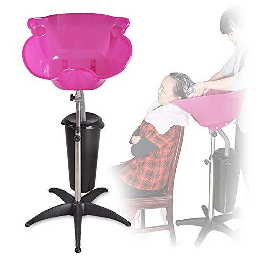 Vertikales Shampoobehälter Schalen, Sitzendes Haarewaschen Waschbecken für Schwangere und ältere Menschen, Bewegliches Drehbares und Verstellbares Shampoo-becken,Pink