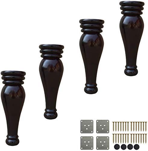 FFLSDR 4 Paquete De Sofá De Madera Piernas, Bollos De Madera Pies, 18cm, Alternativamente Circulares Patas De Los Muebles, con Placa De Montaje