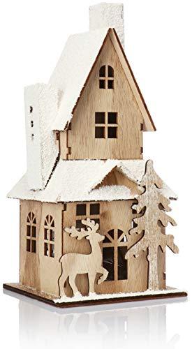 com-four® LED Haus als Deko zu Weihnachten - Kleines Holz-Haus mit LED Beleuchtung - Batteriebetriebene Weihnachtsdekoration (01 Stück - braun)