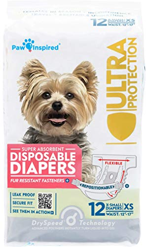 Paw Inspired Disposable Dog Diapers | Female Dog Diapers Ultra Protection | Disposable Puppy Diapers Female | Diapers for Dogs in Heat, Period, Excitable Urination, or Incontinence (12 Count, X-Small)