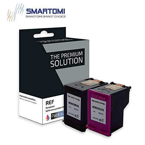SMARTOMI Remanufactured 302XL 302 Compatibili per HP 302 XL per HP DeskJet 1110 1111 1112 2130 2134 3630 3632 3633 3638AIO Envy 4513 4520 4521 4522 4528AIO Officejet 3830 3834 3835 4650 4651 4658AIO 0