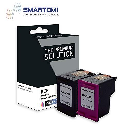 SMARTOMI Remanufactured 302XL Compatibili per Cartucce HP 302 XL per HP Officejet 3830 3834 3835 4650 4651 4655 DeskJet 1110 2130 2134 3630 3632 3633 3638 Envy 4513 4520 4521 4522 4523 4527 4528