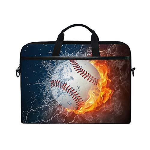 JOYPRINT Laptop Sleeve Case, Sport Baseball in Fire Water 14-14.5 inch Briefcase Messenger Notebook Computer Bag with Shoulder Strap Handle for Men Women Boy Girls
