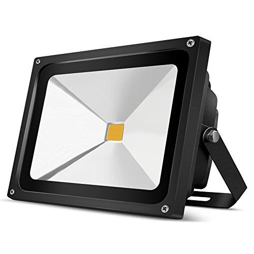 5 Stücke Auralum 50W LED Fluter mit schwarzem Rahmen, hochwertiger Außenstrahler mit 4500Lumen, 230V, Schutzklasse IP65, 3000Kelvin Warmweiß, 10 Jahre Garantie