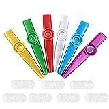 Instrumentos musicales Kazoos mentales de 6 piezas con diafragmas de flauta Kazoo de 35 piezas, juguete musical para niños, amante de la música (muliticolor)