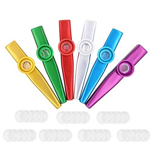 6 stücke Mental Kazoos Musikinstrumente mit 35 stücke Kazoo Flöte Membranen, Musikinstrument Spielzeug für Kinder, Musik Liebhaber (muliticolor)