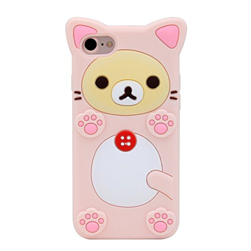 Funermei Pink Bear Case for iPhone 8 Plus/7 Plus /6/6S Plus,Silicone 3D Cartoon Animal Cover,Kids Girls Cool Fun Cute Cases,Kawaii Soft Gel Rubber Unique Character Funny Protector for iPhone 8Plus