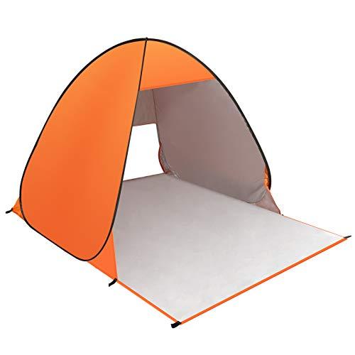 Strandmuschel, KNMY Pop Up Strandzelt Shelter für 1-3 Personen Portable Beach Zelt Sonnenschutz, Outdoor Tragbar Wurfzelt UV-Schutz für Familiencamping, Angeln, Strand, Garten, Picknick