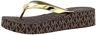 Womens Bedford Patent Signature Flip-Flops, Gold, Size 5.0