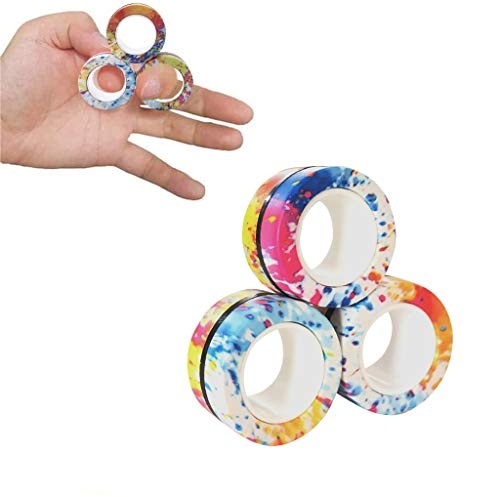 LENDOO Magnetic Rings, Fidget Toy for Fingers, Can Assist with Stress Relief, Decompression & Anxiety, Unzip Magic Magnet Finger Ring for Kids & Adults (C)
