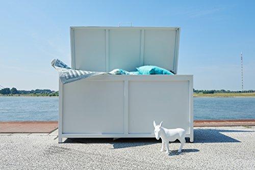 Ribelli® Auflagenbox PAVIA - Alu Kissenbox wasserdicht - Aluminium Gartentruhe in Weiß für Loungemöbel Sitzauflagen - Kissentruhe groß für Garten Auflagen
