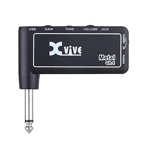 Festnight Kopfhörerverstärker Gitarre, Xvive GA4 Metall Mini Portable wiederaufladbare elektrische Gitarre Plug Amp Kopfhörerverstärker