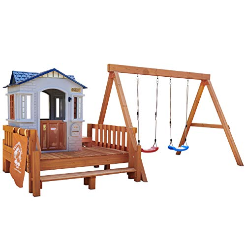 Real Wood Adventures Chipmunk Cottage Backyard Playset for Kids by Little Tikes