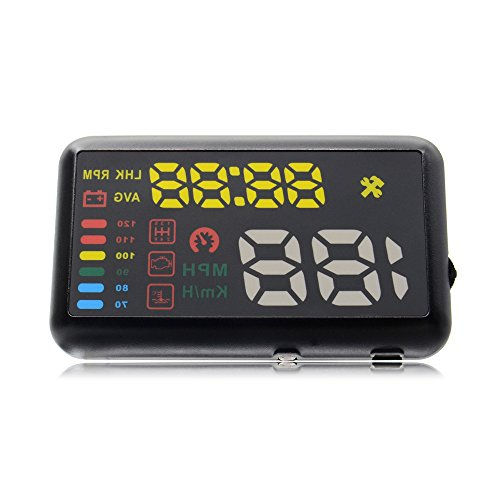 Car HUD X7 5.5 inch OBD II Universal Car HUD Head Up Display KM/h MPH,Fuel Consumption,Temperature Overspeed Alarm Windshield Project Vehicle Speedometer