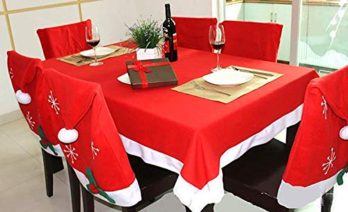 MineDecor A Set of Christmas Tablecloth and Chair Covers Santa Hat Christmas Decoration Table Dinner Decor