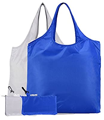 AuroTrends® Large Reusable Grocery Shopping Tote with Built-in Pouch, 2 Pack