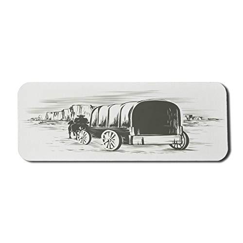 Western Computer Mouse Pad, alter traditioneller Wagen Wild West Prairies Pionier auf Pferdetransportwagen, Rechteck rutschfestes Gummi-Mauspad Großes dunkelgrünes Beige