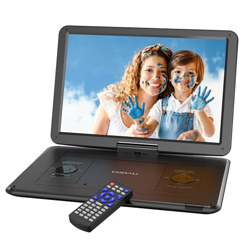 """COOAU 17.9"""" Portable DVD Player with 15.6"""" HD Large Screen, Kids DVD Player with 6 Hrs Rechargeable Battery, Regions Free, High Volume Stereo Speakers, Support AV in&Out/USB/SD Card (Black)"""