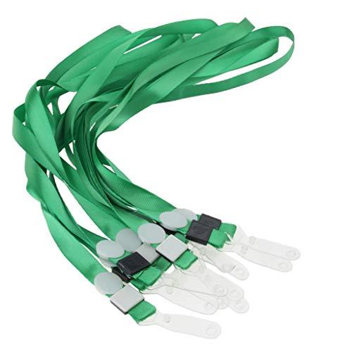 freneci Cordón de La Correa Del Cuello de La Identificación Llana de 10pcs para El Clip Plástico Del Tenedor de La Llave de La Insignia de La Tarjeta de Ident - Verde