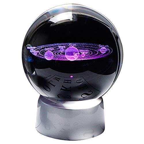 Shumo Crystal Ball Planet 3D Solar System Model Vetro Globale con Base Un LED Accessori per La Decorazione Decorativa Palla Decorativa Astronomica L