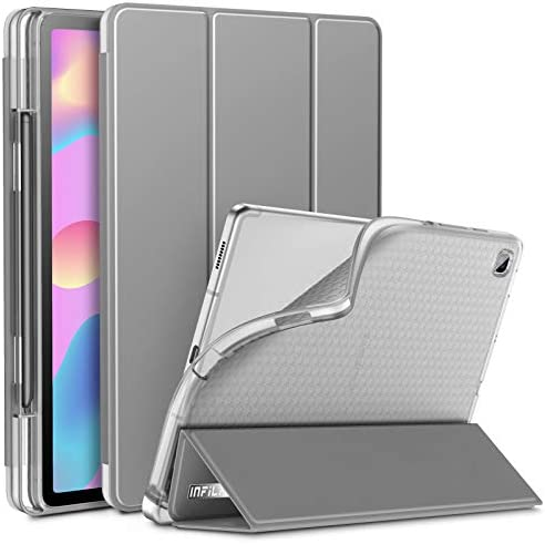 INFILAND Galaxy Tab S6 Lite Case with S Pen Holder Tri Fold Case with Frosted Translucent Back product image