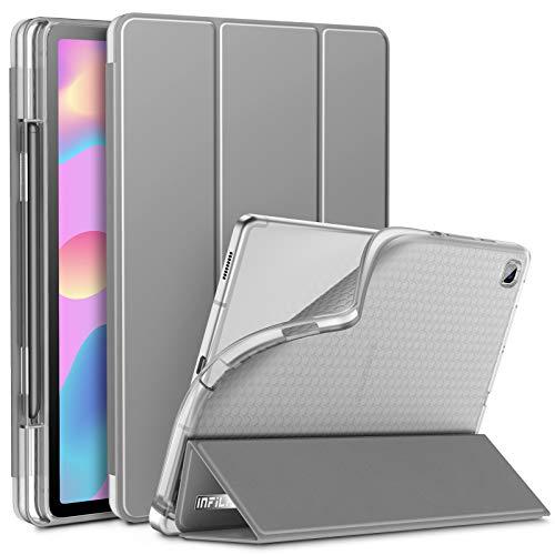 INFILAND Hülle für Galaxy Tab S6 Lite mit S Pen Halter, Superleicht Transluzent TPU Schutzhülle mit Auto Schlaf/Wach Funktion für Samsung Galaxy Tab S6 Lite 10.4 P615/P610,Grau