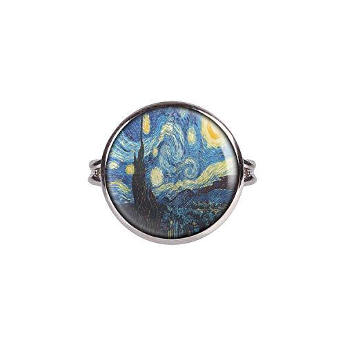 Mylery Ring mit Motiv Sternen-Nacht Starry Night Kunst Gemälde Silber 16mm