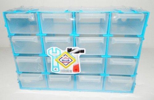 Pequeño Casier almacenaje plástico azul recinto 21,5x 15cm 16cajones Ranger tornillo