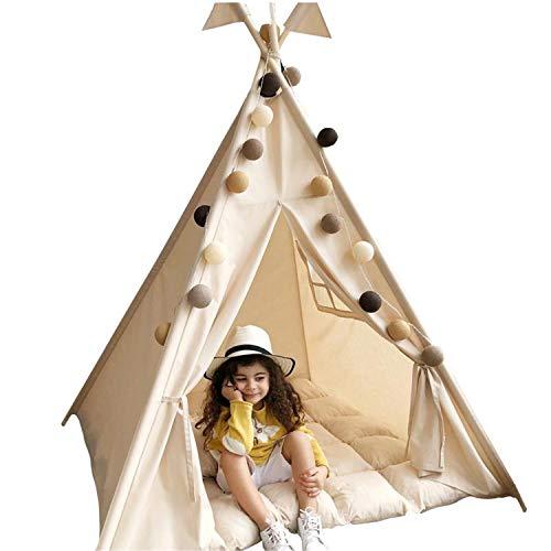 JHKGY Indisches Leinwand Tipi Kinderspielhaus,Faltbare Kinder Indian Wigwam Playhouse Zelt,Kinder Spielen Zelt,Für Drinnen Oder Draußen Spielen -Mit Bodenmatte