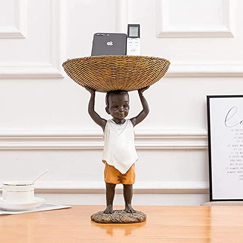 Para oficinas jardín sala de familia ornamentos abstractos figurines arte estatuas y estatuillas para la decoración del hogar, resina resumen carácter escultura negro hombre almacenamiento canasta est