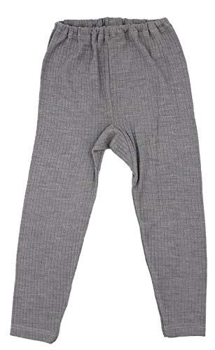 Cosilana, Kinder Leggings/Lange Unterhose, 45% KBA Baumwolle, 35% kbT Wolle, 20% Seide (128, Grau Meliert)