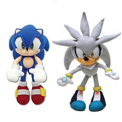N / A Juego de 2 Piezas Sonic Toys Super Sonic The Hedgehog Peluche Sonic Shadow Knuckles Tails Cute Soft Stuffed Dolls Llavero 20-27cm