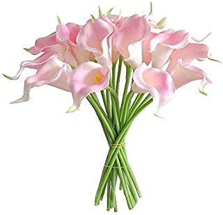 "Mandy's 20pcs Pink Artificial Calla Lily Flowers 13.4"" for Home Kitchen & Wedding Decorations"