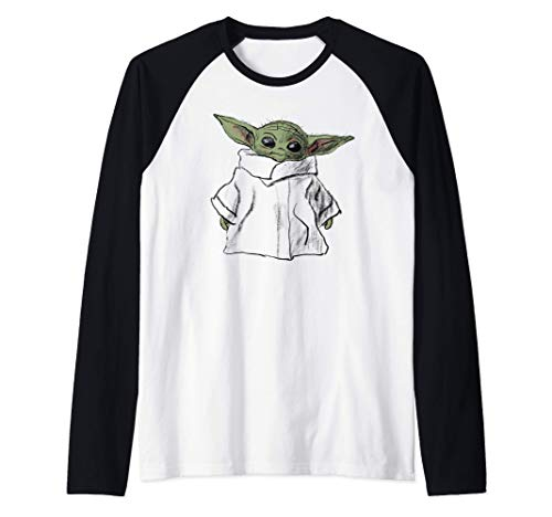 Star-Wars-The-Mandalorian-The-Child-Illustration-Camiseta-Manga-Raglan