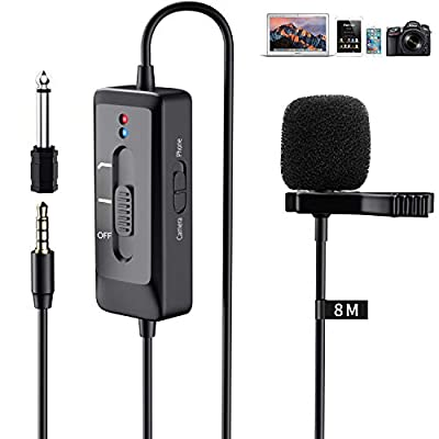 Professional Lavalier Microphone Mini Lapel Microphone Works for iPhone/Android/Computer/DSLR/Camera New Upgranded with 26 Feet Cable for Interview/Podcast/Recording Youtube/Asmr