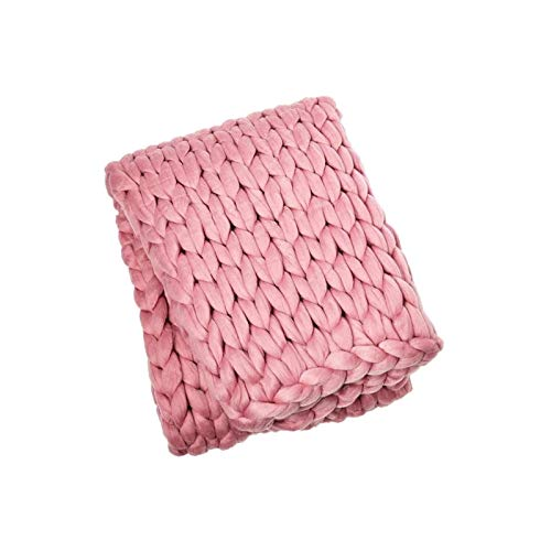 Manta tejida hecha a mano gigante suave grueso sof Manta de punto chunky Soft Hecho a mano Tiro para tejer para sofá Decoración Decoración Super Bed Mat Mats Manta de bebé (color: rosa, Tamaño: 60 × 8