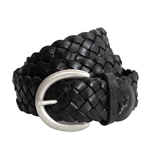 Damen-Gürtel Leder geflochten von Tom Tailor - Damenledergürtel aus echt Leder mit Metall Dornschließe (Schwarz 95cm) - präsentiert von ZMOKA®