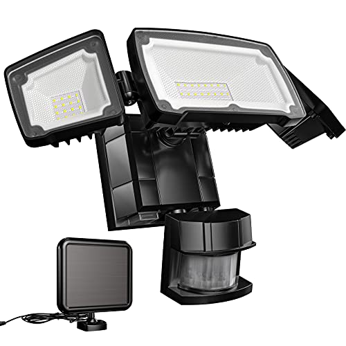 Otdair Solar Security Light, 1600lm Bright Solar Motion Light Outdoor with Separate Panel, Waterproof Solar Light Outdoor with Motion Sensor for Garden Yard Garage, 3 Adjustable Heads Black