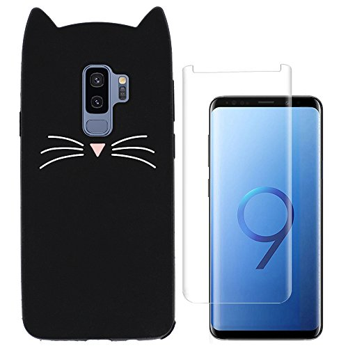 Hcheg Case for Samsung Galaxy S9 Plus - Cell Phone Case for Samsung Galaxy S9 Plus DUOS - Cell Phone Case Cover Silicone Protective cat Case black + 1x Stylus Touch Pen Silver