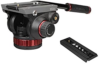 Manfrotto MVH502AH Pro Video Tripod Head with Flat Base, Fluid Pan, Drag System, Built-In Counterbalance and Quick Release Plate (Standard Packaging) (Renewed)