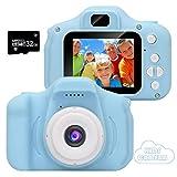 CNMF Kinder Kamera, Digital Fotokamera Selfie und Videokamera mit 12 Megapixel/Dual Lens/ 2 Inch Bildschirm/ 1080P HD, Geburtstagsgeschenk für Kinder