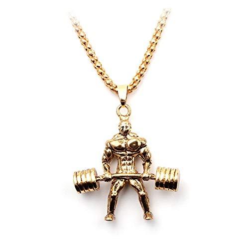 NA Halskette für Männer Gold Weight Lifter/Bodybuilder Fitness Charm Hund Halskette Tier Anhänger Zubehör Schmuck Xl1064