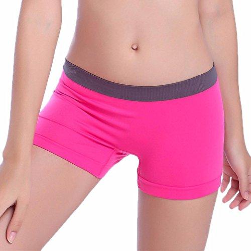 Fanteecy Women's Stretch Yoga Shorts Athletic Boxer Tights Ultra Thin Leggings Pants Elastic Short Panties (Free Size, Hot Pink)