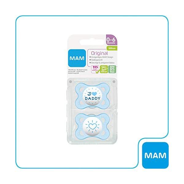 MAM I love Daddy - Juego de utensilios de silicona para bebé (0-6 meses, 2 unidades) azul