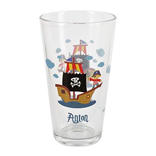 Striefchen® Trinkglas Pirat für Kinder mit Wunschnamen bedruckt