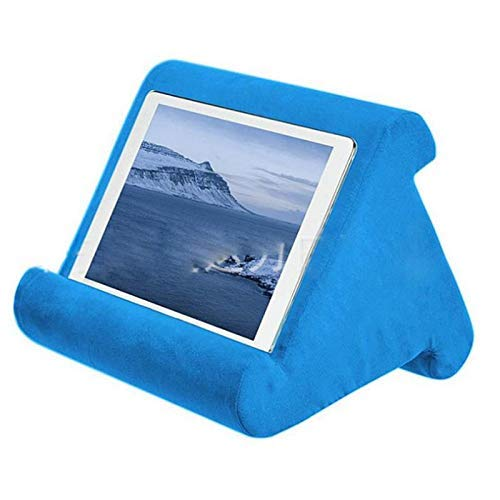 ConPush Multi-Angle Soft Pillow Lap Stand, Tablet Pillow for iPads, Tablets, eReaders, Smartphones, Books, Magazines (Blue)