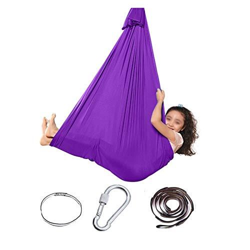 YANFEI Hamaca de Yoga Terapia Interior Swing 2 en 1 para Adultos y niños Terapia sensorial Swing elástico Incluido Cinta de extensión de Cuerda Cerradura de Acero